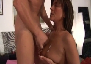 Mom gets her mouth fucked by a horny as hell son