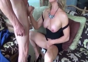 Glamour blonde sucks her grandad with passion