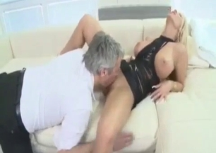 Glamour big-boobed blonde licked by her own uncle