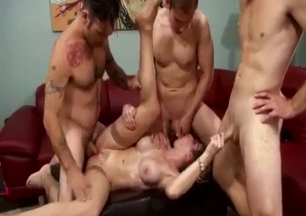 Fake-boobed slut gets impaled by her own sons