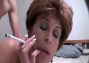 Smoking mommy gets drilled by her own son
